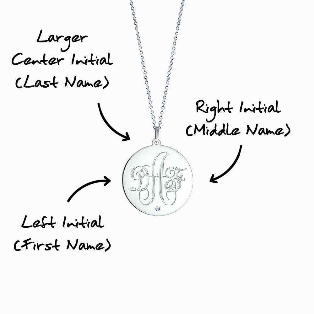 Engravable 1 inch Sterling Silver Monogram Disc Charm Necklace with Single Diamond 3 Initial Monogram Instructions