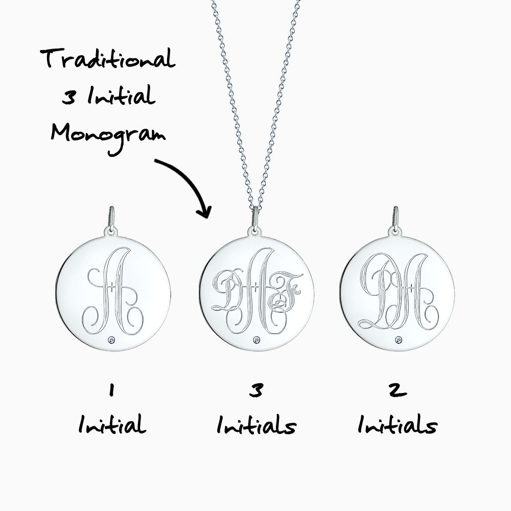 Engravable 1 inch Sterling Silver Monogram Disc Charm Necklace with Single Diamond Front Monogram Initial Options
