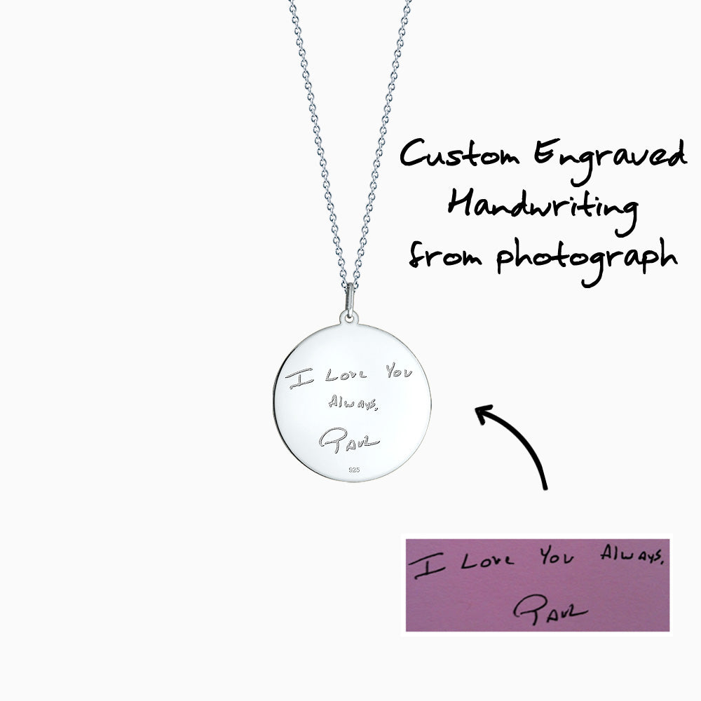 Engravable 1 inch Sterling Silver Monogram Disc Charm Necklace with Single Diamond - How to Custom engraving of artwork and handwriting