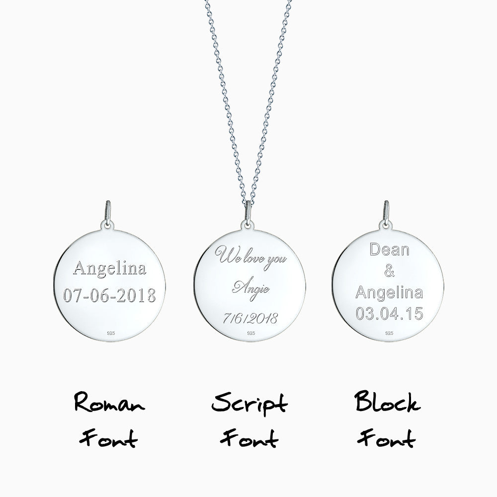 Engravable 1 inch Sterling Silver Monogram Disc Charm Necklace with Single Diamond - Pendant Text Engraving in Roman, Block and Script Font