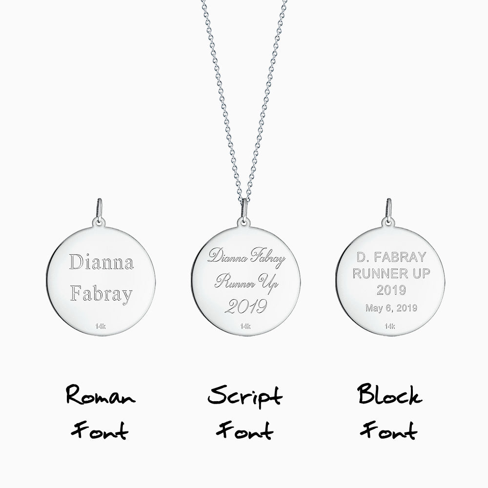 Disc pendant front text engraving in Roman, Block and Script font