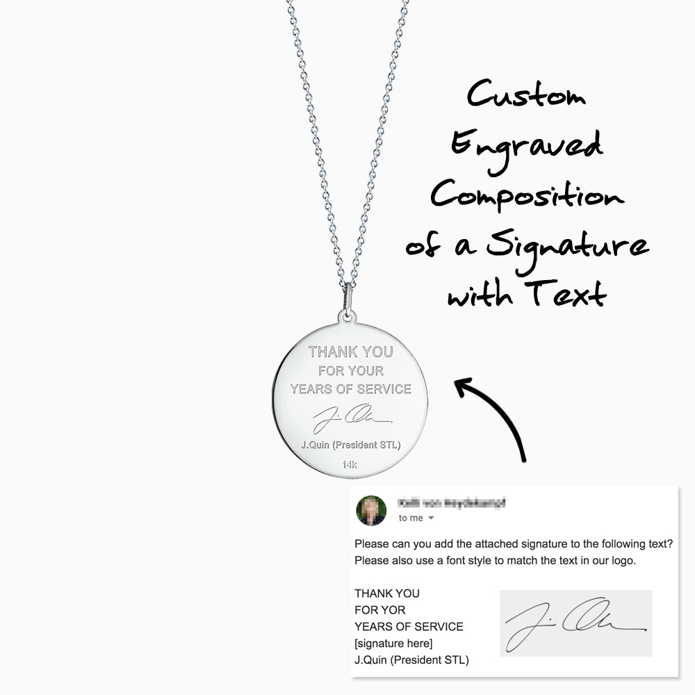 Disc pendant back custom engraved with handwriting and text