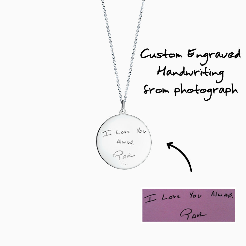 Engravable 1 inch 14k White Gold Monogram Disc Charm Necklace with Single Diamond - How to Custom engraving of artwork and handwriting
