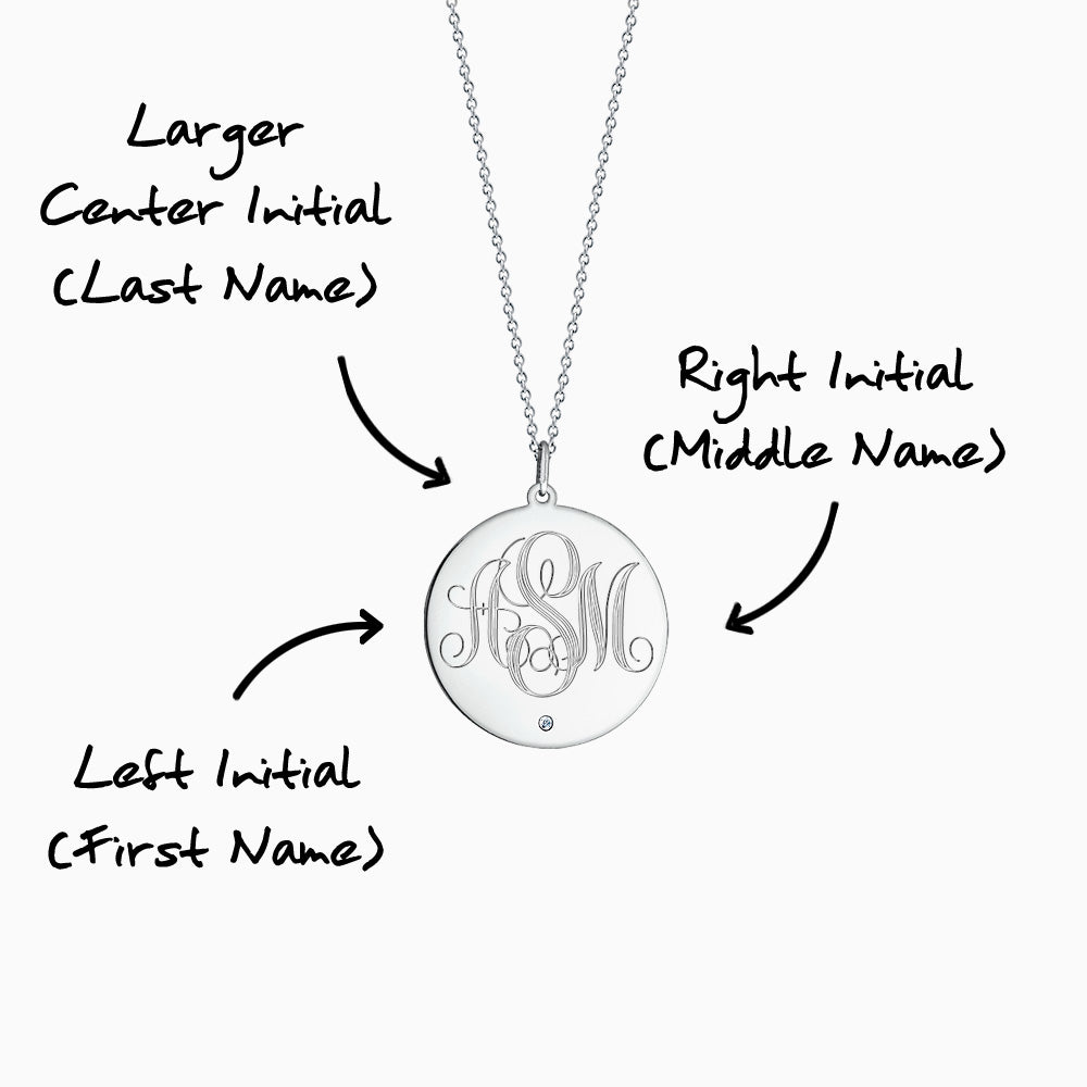 Engravable 1 inch 14k White Gold Monogram Disc Charm Necklace with Single Diamond 3 Initial Monogram Instructions