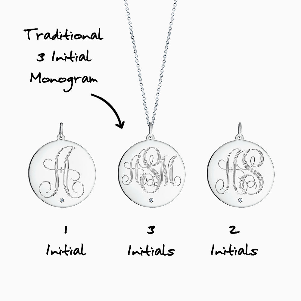 Engravable 1 inch 14k White Gold Monogram Disc Charm Necklace with Single Diamond Front Monogram Initial Options