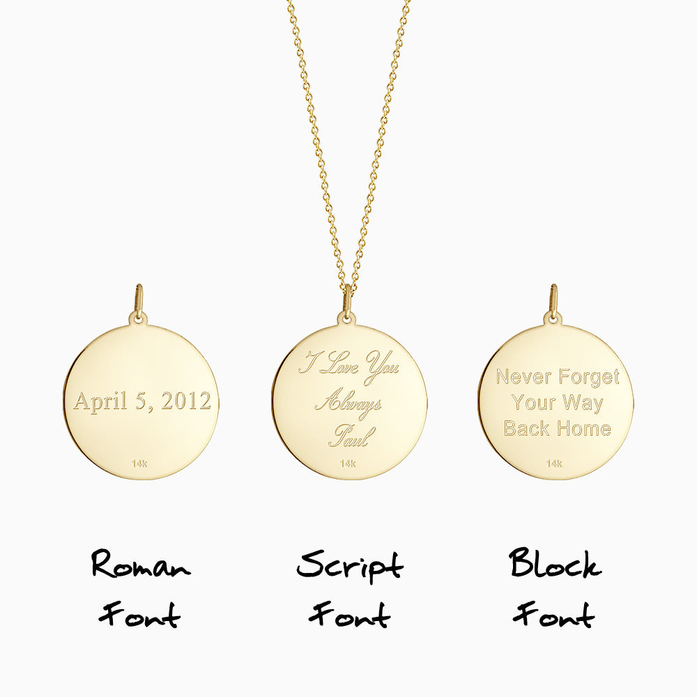 Engraving text inscription on the back of disc pendant in Roman, Block and Script font styles