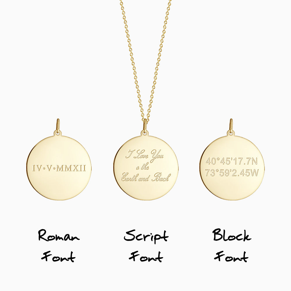 Engraving text inscription on disc pendant in Roman, Block and Script font styles