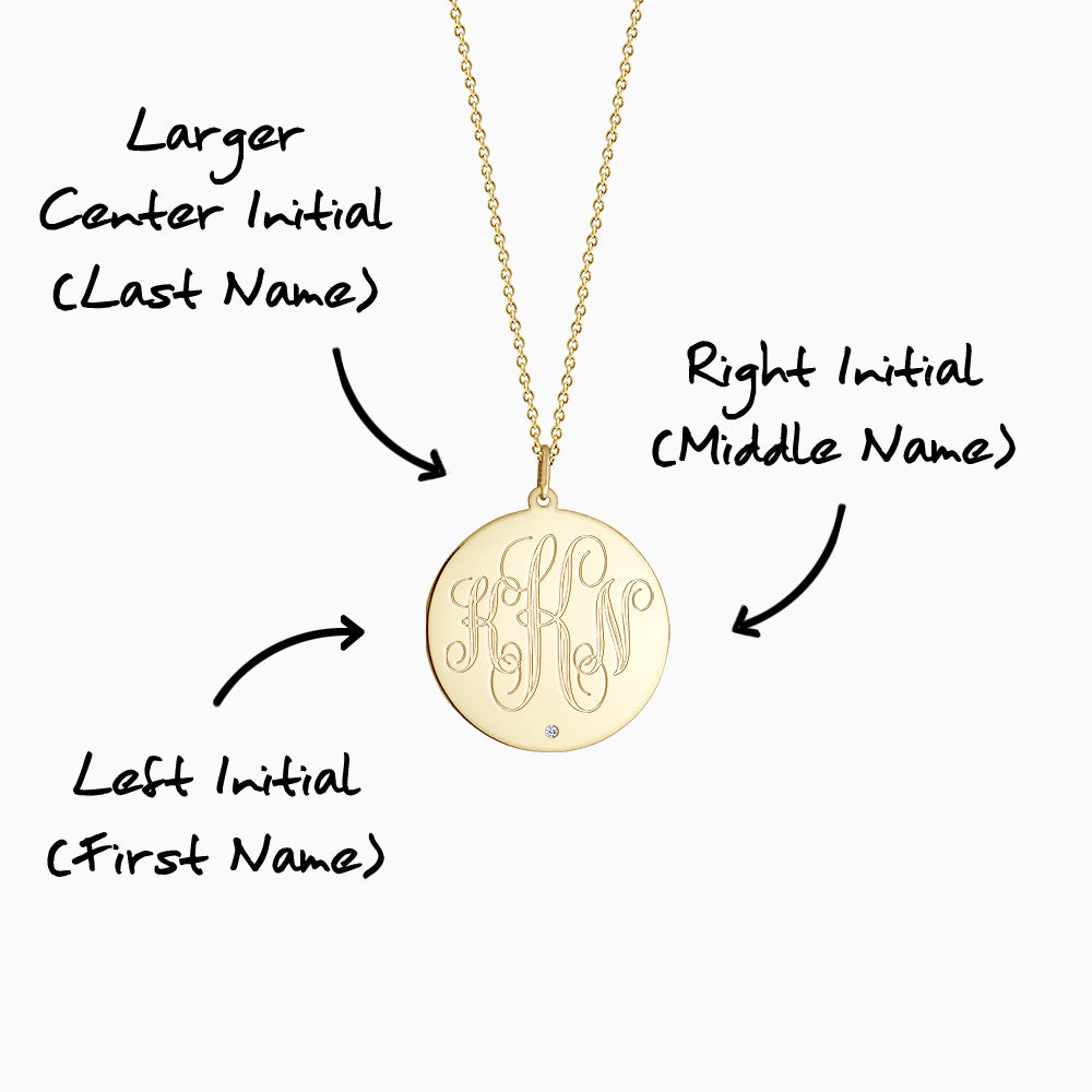 Engravable 1 inch 14k Yellow Gold Monogram Disc Charm Necklace with Single Diamond - 3 Initial Monogramming Instructions