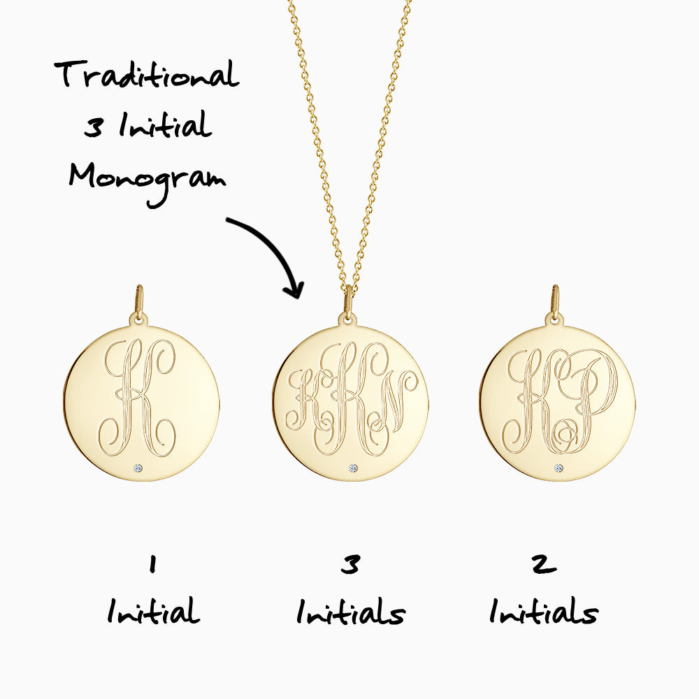 Engravable 1 inch 14k Yellow Gold Monogram Disc Charm Necklace with Single Diamond - Front Monogram Initial Options