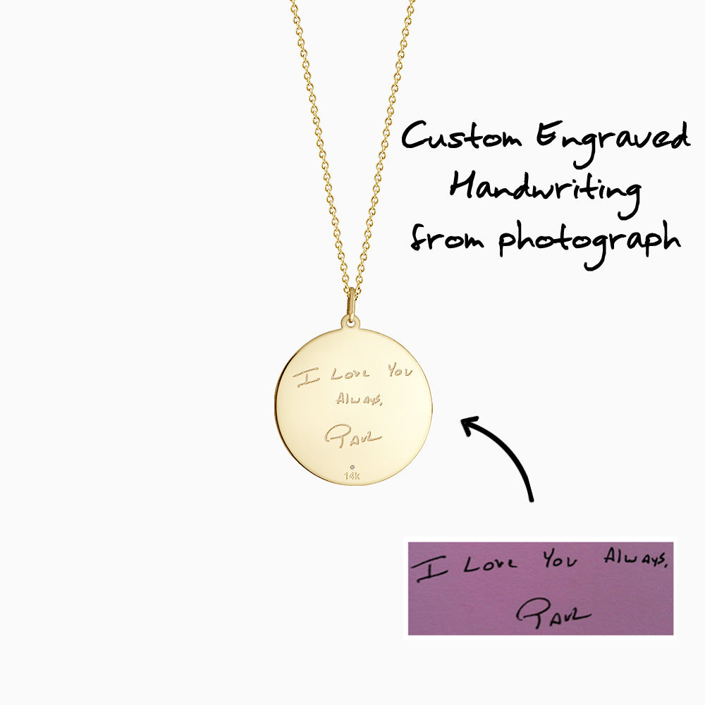 Engravable 1 inch 14k Yellow Gold Monogram Disc Charm Necklace with Single Diamond - How to Custom engraving of artwork and handwriting