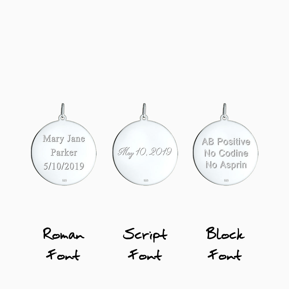 Disc pendant back text engraving in Roman, Block and Script font