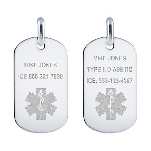 Medical alert dog tag front engraving options