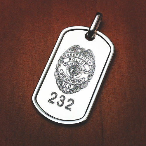 Custom engraved dog tag with a police badge taken from a photograph