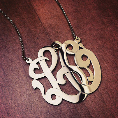 2 Initial Cutout Monogram Necklace in 14k Gold LO