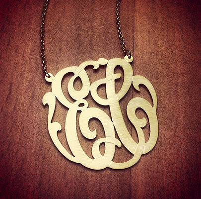 2-Initial Monogram Necklace in 14k Gold Plated Sterling Silver with Brush Finish. Initials EC