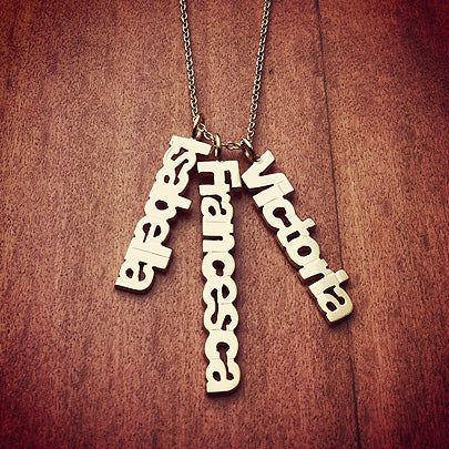Custom 3 Cutout Name Charm Pendants with Chain in 14k Yellow Gold