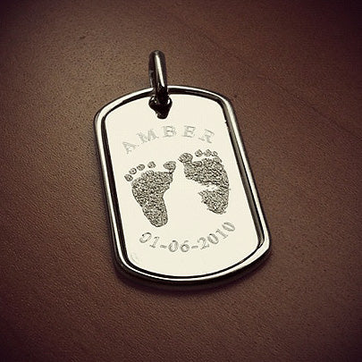 Custom engraved mens dog tag with real baby footprints for new dad
