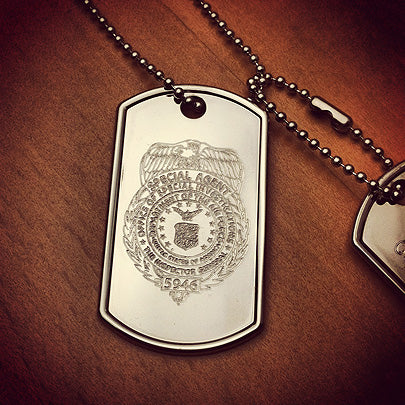 Custom engraved mens large dog tag with image of actual OSI badge