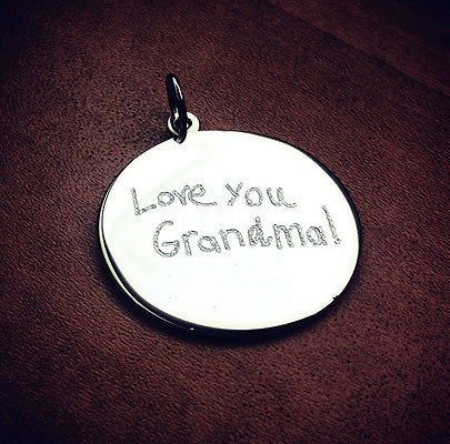 Custom engraved silver disc charm with real handwritten message for grandma