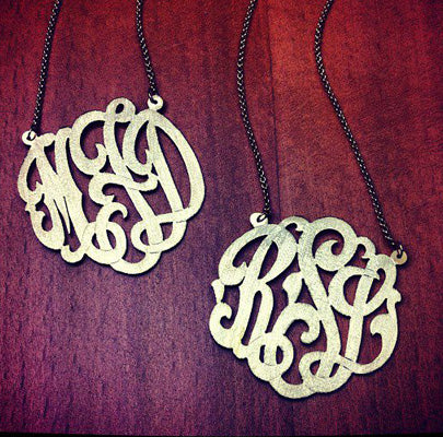 3-Initial Monogram Necklaces in 14k Gold Plated Sterling Silver with Brush Finish - Initials MFD and RSL