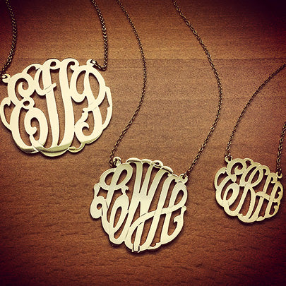 3-Initial Monogram Necklaces with Cutout Interlocking Script Initials.