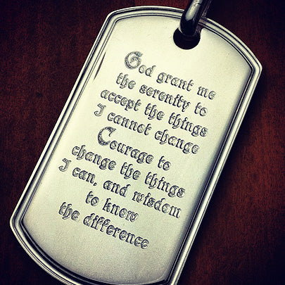 Custom engraved mens large dog tag with the Serenity Prayer in a custom font style.