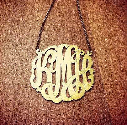 14k Gold Plated 3-initial Cutout Monogram Necklace with Initials KMH