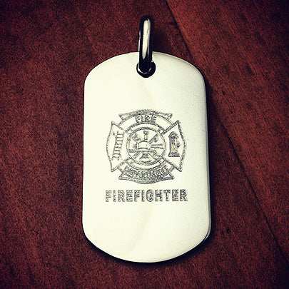 Sterling silver dog tag custom engraved with Fire Department crest.