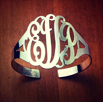 3 Initial Cutout Monogram Cuff Bracelet with Initials MWC