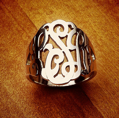 Sterling Silver 3-Initial Cutout Monogram Ring with Initials LSR