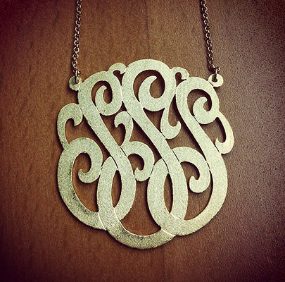 Brush Finished 3 Initial Cutout Monogram Necklace with Initials SSS