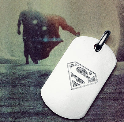 Men's Sterling Silver Flat Dog Tag Custom Engraved with Superman Symbol