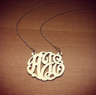 14k Gold Plated Cutout Monogram Necklace with Initials AJE