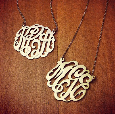 14k Yellow Gold 3-Initial Monogram Necklaces with Initials KCA and MGE