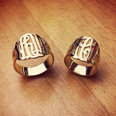 14k yellow gold 3-initial cutout monogram rings with initials WHO, HCM