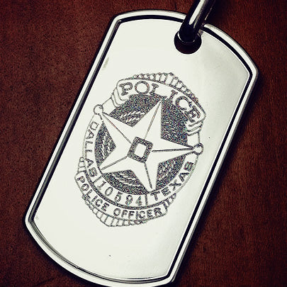 Men's dog tag custom engraved with a Dallas TX police badge.
