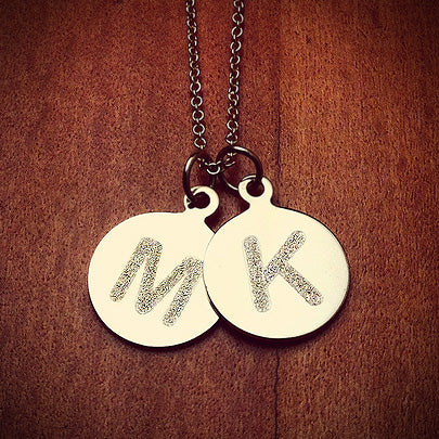 Two Personalized 1/2 inch 14k Gold Etched Initial Disc Pendants on a 14k Gold Link Chain