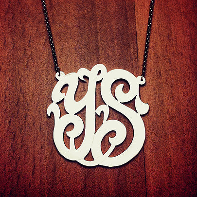 2-Initial Monogram Necklace in Sterling Silver with Cutout Initials YS