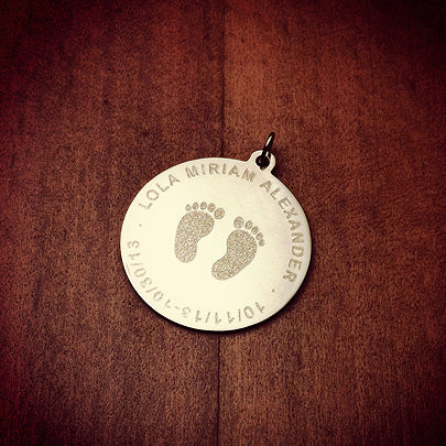 Custom engraved baby footprints charm pendant in 14k gold