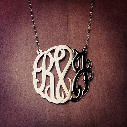 3-Initial Monogram Necklace with Cut Out Interlocking Initials R&J in 14k Gold