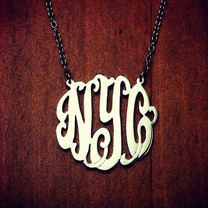 14k Gold Plated 3-initial Cutout Monogram Necklace with Initials NYC
