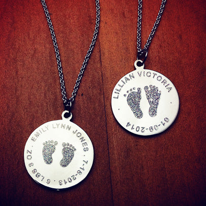 Custom engraved baby footprint disc charm pendants in sterling silver