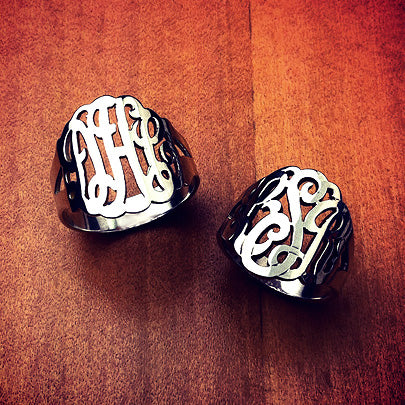 Sterling silver 3-initial cutout monogram rings with initials DHC, LSJ
