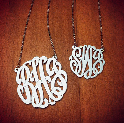 3 Initial Cut Out Monogram Necklaces in Sterling Silver with Initials RHJ and SWJ