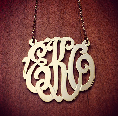 14k Gold Cut Out Script 3-Initial Monogram Necklace with Initials EKO