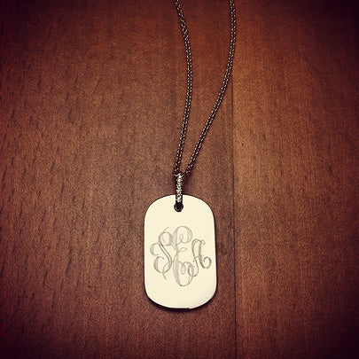 Monogrammed 14k Gold Dog Tag Necklace for Women with Diamond Bail