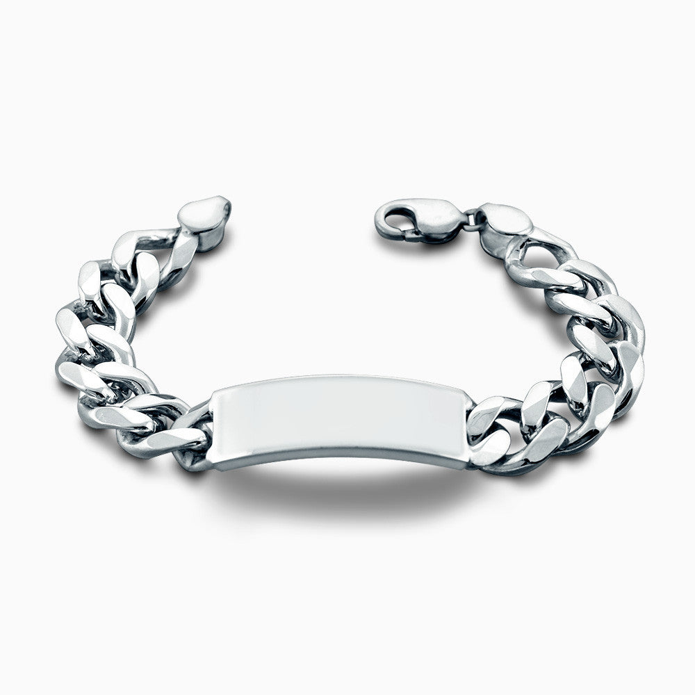 Men's Heavy Silver 15 mm Cuban Link ID Bracelet - Engravable