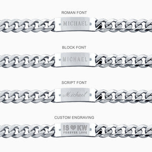 Men's Sterling Silver 15 mm Cuban Link Diamond ID Bracelet 1/2 inch Wide - Engraving Ideas