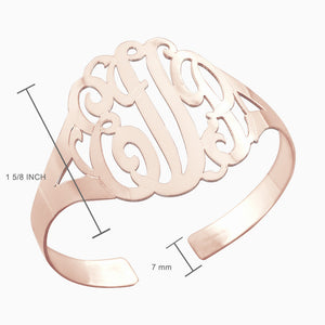 Large 14k Rose Gold Plated Cutout 3 Initial Script Monogram Cuff Bracelet