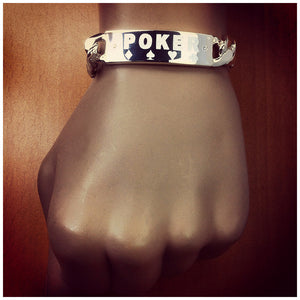 Men's Sterling Silver Poker Champion ID Bracelet with Diamond Accents
